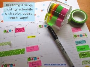 Organzing with washi tape